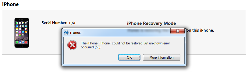 restore iphone error 53